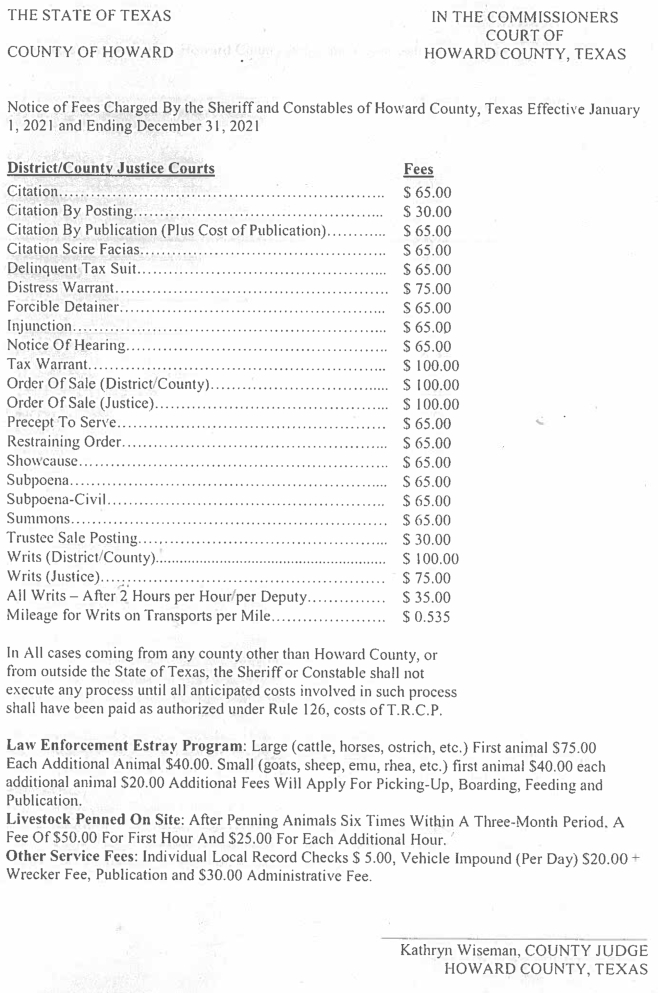 Notice of Fees